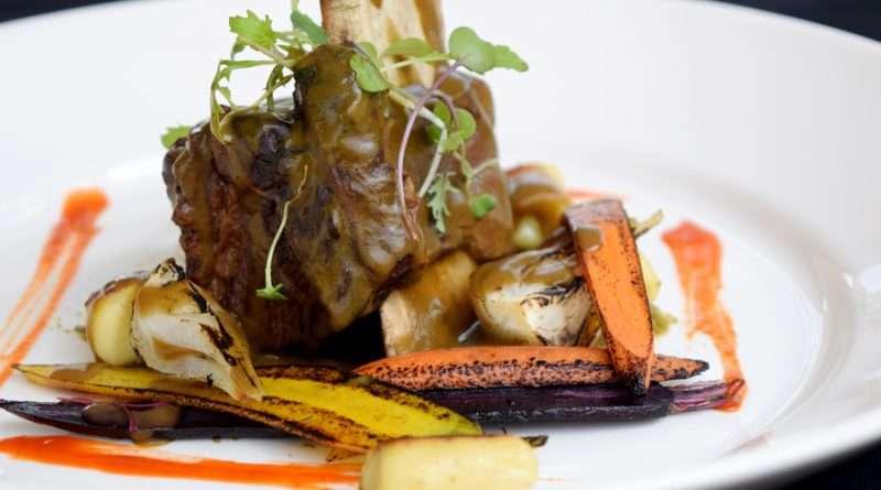 Braised shortribs luau with 'ulu gnocchi by chef Tom Muromoto of Kaanapali Beach Hotel.